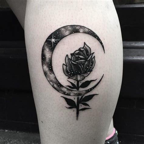 beautiful rose flower  crescent moon tattoo   leg