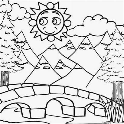 Coloring Drawing Summer Mountain Pages River Sun