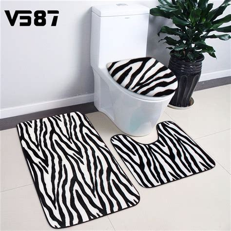 3pcs bathroom mat bath rug set animal skin print contour