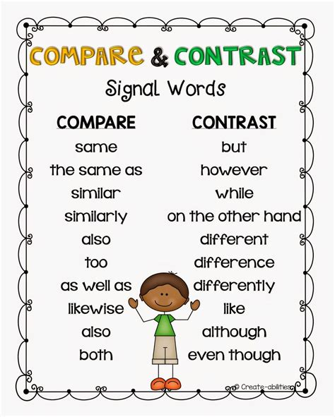 free printable compare and contrast by create