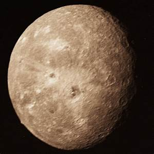 APOD: April 8, 1996 - Uranus's Moon Oberon: Impact World