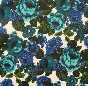 60s Fabric Vintage Floral Upholstery Fabric Cotton Linen Blue