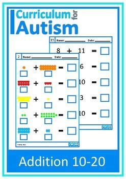 addition   worksheets  visual autism  curriculum