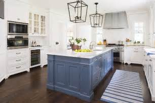 blue kitchen island with calacatta gold extra marble countertops transitional kitchen