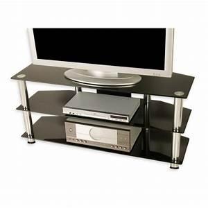 meuble tv en verre trempe noir 110 x 50 x 40 cm With meuble 50 x 40