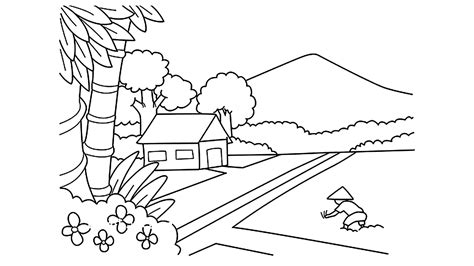 39 ide gambar sketsa pemandangan tanpa warna sketsa