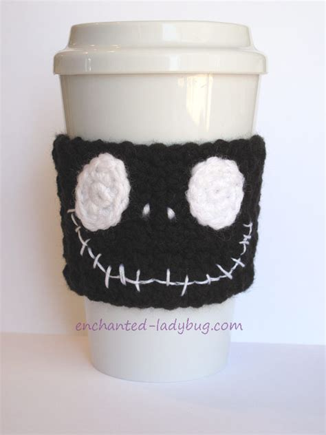 free pattern printables free crochet jack skellington coffee cup cozy pattern