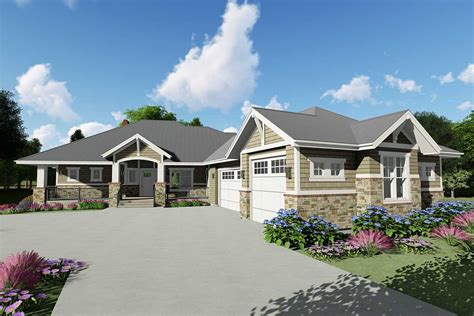 downsized craftsman ranch home plan  angled garage sc architectural designs house