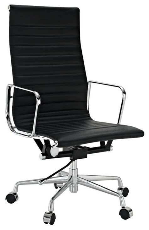 modern ribbed high back office chair leather black