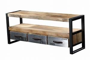 Meuble Bois Metal : meuble tv pas cher bois ~ Teatrodelosmanantiales.com Idées de Décoration