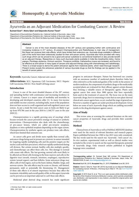 ayurveda   adjuvant medication  combating