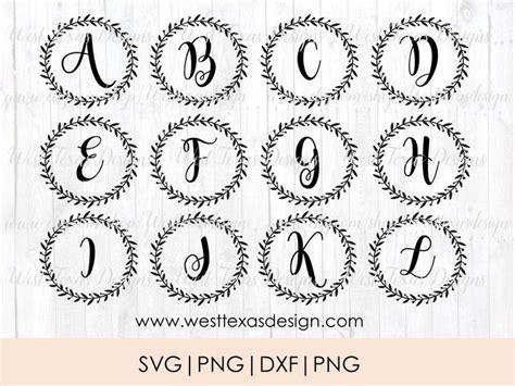 monogram wreathsfarmhouse styleletter wreath monogram svg etsy monogram wreath monogram