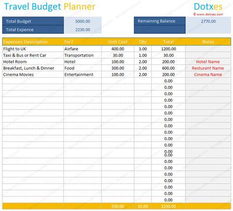 travel budget template budget calculator dotxes