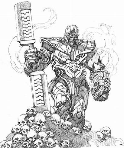 Thanos Endgame Marvel Drawings Very Sketch Spiderman