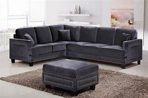 Braylee modern grey velvet sectional sofa with nailhead trim for Grey sectional sofa with nailhead trim