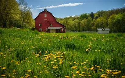 Barn Country Desktop Meadow Trees Wallpapers
