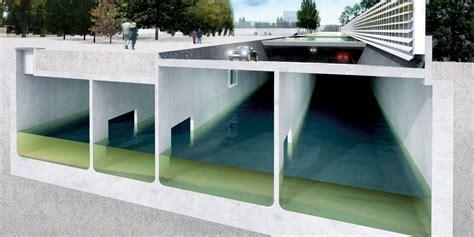 under sponge storage rainwater storage below buildings such as parking garages