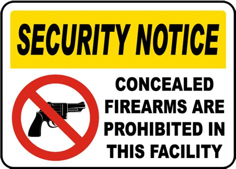 Concealed Weapons Prohibited Sign F7002