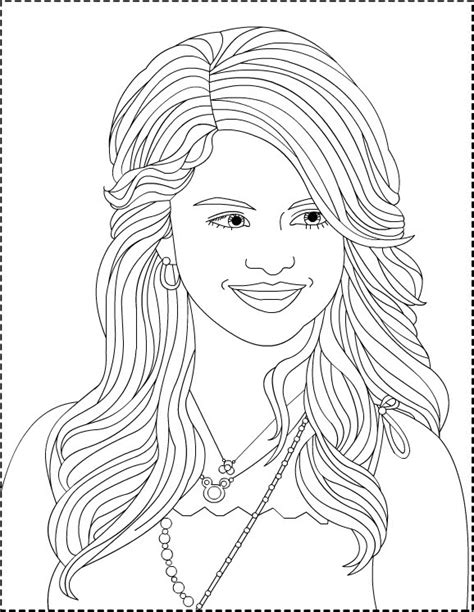 selena gomez kids coloring sheets long hair