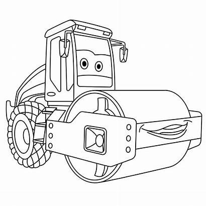 Coloring Asphalt Cartoon Paving Machine Moving Trucks