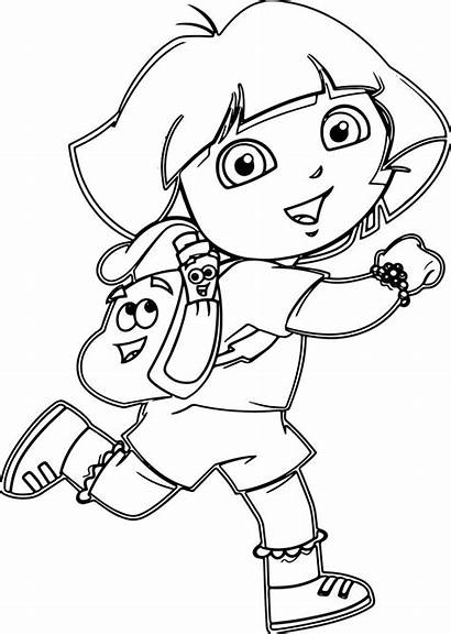 Coloring Dora Cartoon Pages Drawing Wecoloringpage Colouring