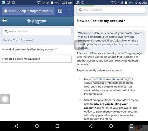 how to deactivate instagram on phone how to deactivate instagram account in android device