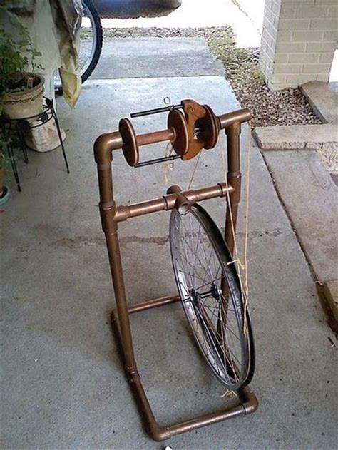 how to build a pipe l oh wow diy spinning wheel made from a bicycle wheel