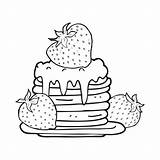 Pancake Cartoon Stack Wit Zwart Blanco Negro Pannenkoek Kleurplaat Panqueques Strawberries Pannekoek Dibujos Vector Fresas Animados Depositphotos Colorear Pila Stockillustratie sketch template