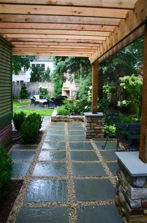 pea gravel and patio outside