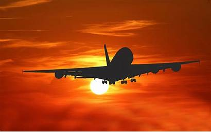 Sunset Airplane Travel Velka Silhouette