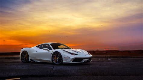 Car Sunset Wallpaper by Italia Speciale White Supercar Sunset Sky Hd Wallpaper