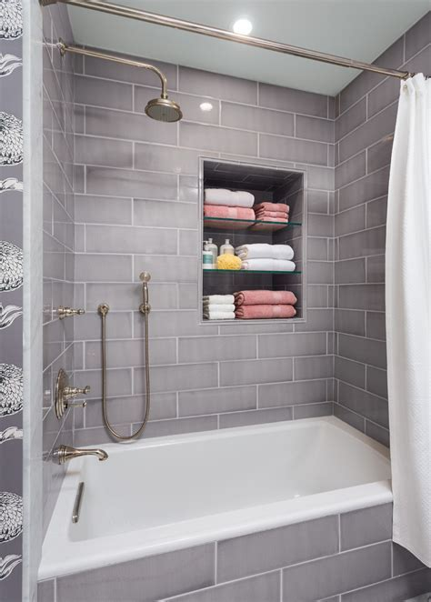 jeffrey court tile Bathroom Transitional with 3 wall