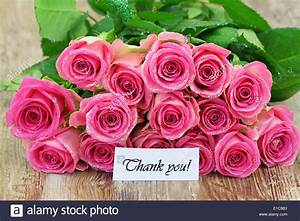 Thank you card with pink roses Stock Photo: 69726917 - Alamy