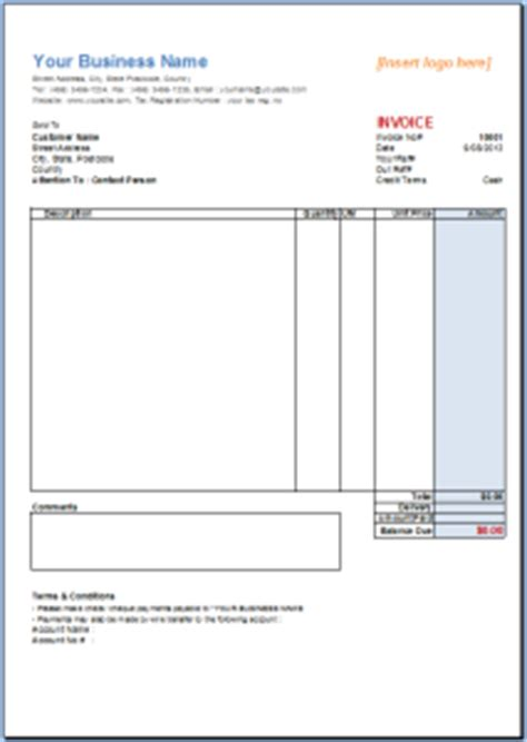 australian invoice template excel invoice