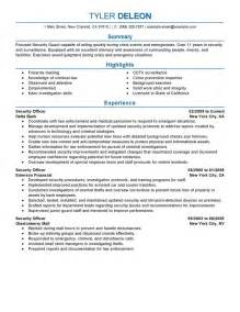 security resumes exles sle resume for security officer sle resume