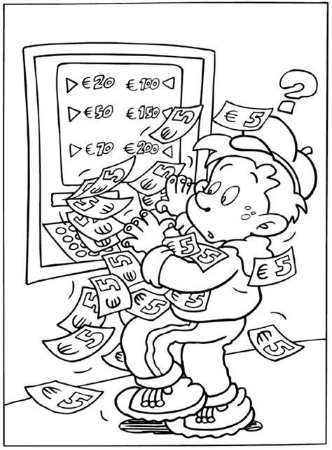 Kleurplaat Briefgeld by Geldautomaat Thema Geld