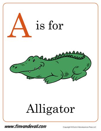 a is for alligator letter a printable