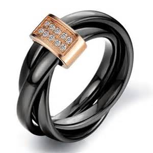 womens black wedding rings 39 s ceramic rolling wedding band ring black gold yoyoon 7257