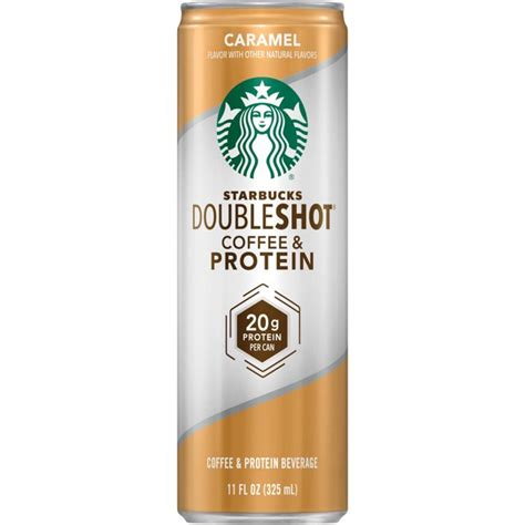 The menu includes several espresso drinks, lattes, sandwiches, and bagels. Starbucks Doubleshot Caramel Coffee & Protein Beverage, 11 ...
