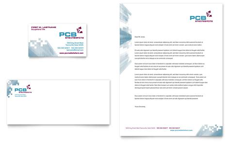high tech manufacturing business card letterhead
