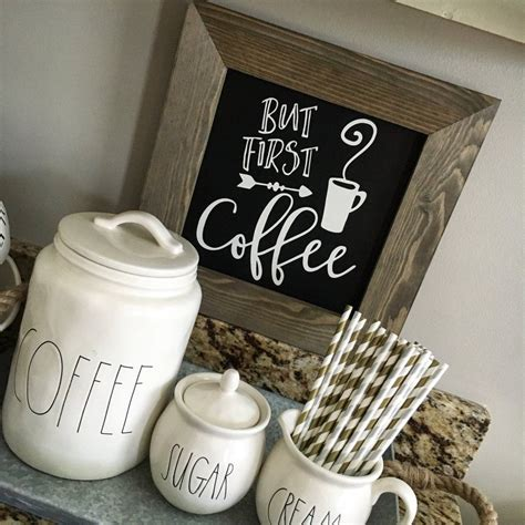 Huray rayho coffee tiered tray decor rustic coffee bar signs farmhouse rae dunn for fun kitchen collection coffee station 3d signs muglife. But First Coffee Chalkboard Sign | Coffee bar signs ...
