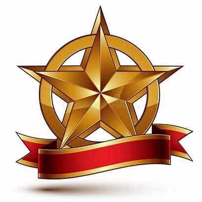 Golden Dorato Simbolo Bollato Stella Pentagonale Gouden