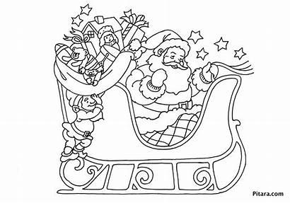 Santa Coloring Claus Sleigh Christmas Pages Printable