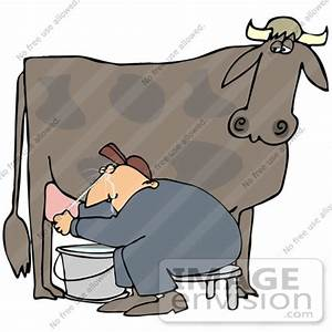 Clip Art Graphic of a Cow's Udder Squirting A Male Farmer ...