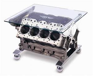 Unique automotive furniture by bentley idesignarch for Engine block coffee table