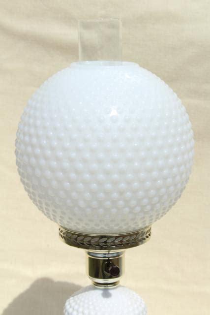 vintage hobnail milk glass table lamp    wind  globe shade