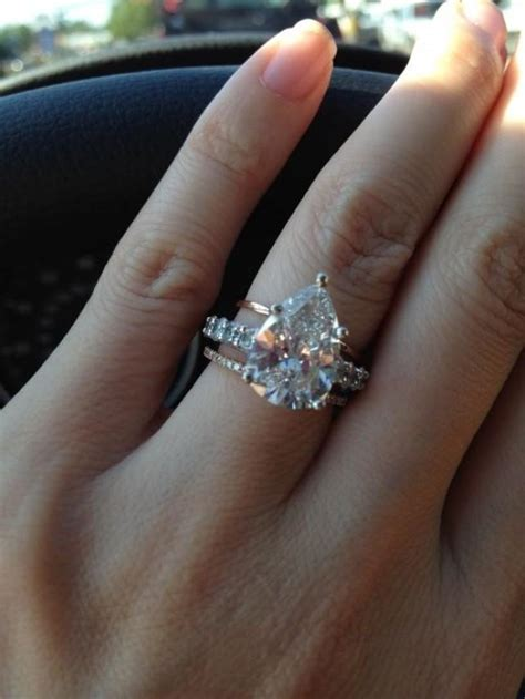wedding band with pear shaped engagement ring wedding pear shaped wedding ring