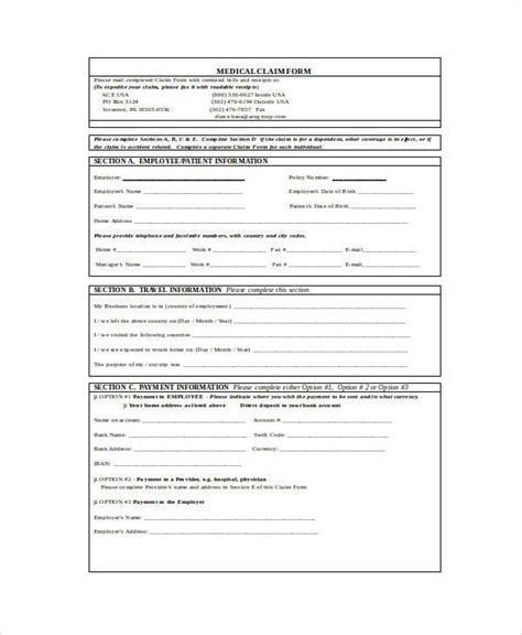 sample claim forms  word