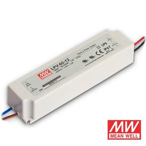 mean well led light 12v 24v 60 watt ip67 mean well transformer for led tape