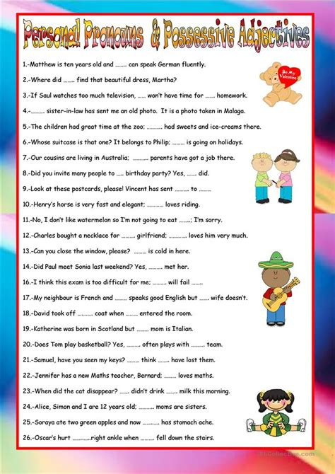 Personal Pronouns And Possessive Adjectives Worksheet  Free Esl Printable Worksheets Made By